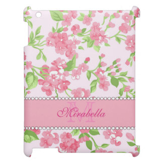 Spring pink watercolor Blossom Branches name Cover For The iPad 2 3 4