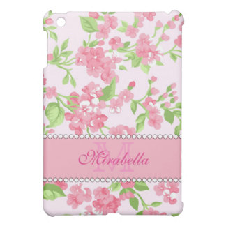Spring pink watercolor Blossom Branches name Cover For The iPad Mini