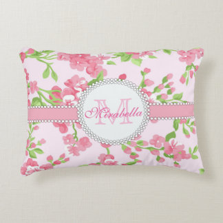 Spring pink watercolor Blossom Branches name Decorative Pillow