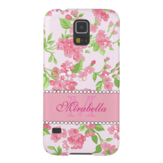 Spring pink watercolor Blossom Branches name Galaxy S5 Covers