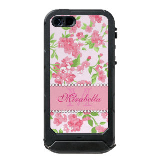 Spring pink watercolor Blossom Branches name Incipio ATLAS ID™ iPhone 5 Case