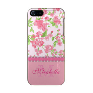 Spring pink watercolor Blossom Branches name Incipio Feather® Shine iPhone 5 Case