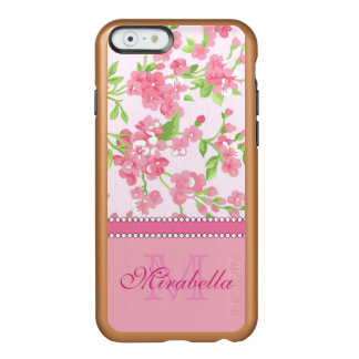 Spring pink watercolor Blossom Branches name Incipio Feather® Shine iPhone 6 Case