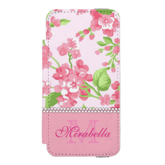 Spring pink watercolor Blossom Branches name Incipio Watson™ iPhone 5 Wallet Case