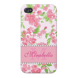 Spring pink watercolor Blossom Branches name iPhone 4/4S Cover