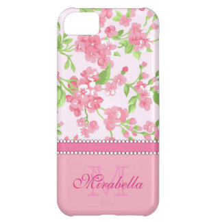 Spring pink watercolor Blossom Branches name iPhone 5C Cases
