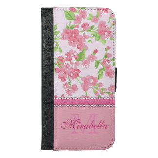 Spring pink watercolor Blossom Branches name iPhone 6/6s Plus Wallet Case