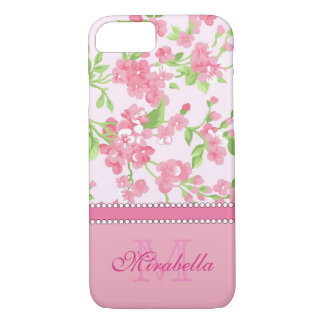Spring pink watercolor Blossom Branches name iPhone 8/7 Case