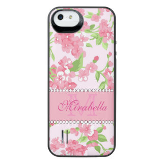 Spring pink watercolor Blossom Branches name iPhone SE/5/5s Battery Case