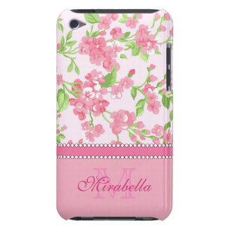 Spring pink watercolor Blossom Branches name iPod Touch Case-Mate Case