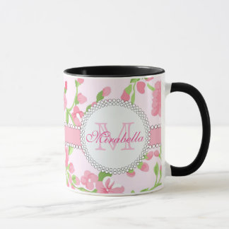 Spring pink watercolor Blossom Branches name Mug