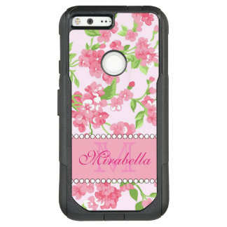 Spring pink watercolor Blossom Branches name OtterBox Commuter Google Pixel XL Case
