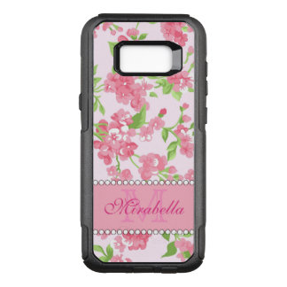 Spring pink watercolor Blossom Branches name OtterBox Commuter Samsung Galaxy S8+ Case