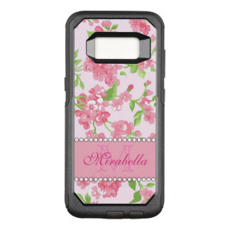 Spring pink watercolor Blossom Branches name OtterBox Commuter Samsung Galaxy S8 Case