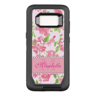 Spring pink watercolor Blossom Branches name OtterBox Defender Samsung Galaxy S8 Case