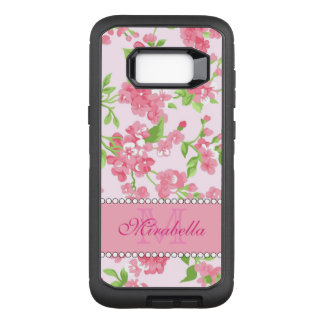 Spring pink watercolor Blossom Branches name OtterBox Defender Samsung Galaxy S8+ Case