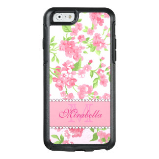 Spring pink watercolor Blossom Branches name OtterBox iPhone 6/6s Case