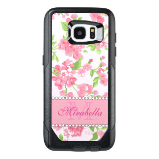 Spring pink watercolor Blossom Branches name OtterBox Samsung Galaxy S7 Edge Case