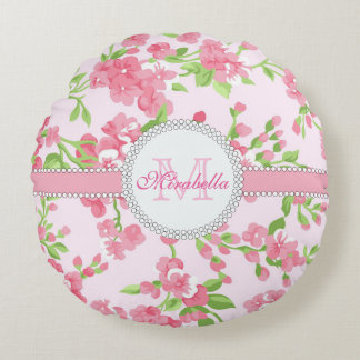 Spring pink watercolor Blossom Branches name Round Pillow
