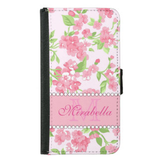 Spring pink watercolor Blossom Branches name Samsung Galaxy S5 Wallet Case