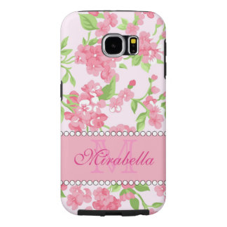Spring pink watercolor Blossom Branches name Samsung Galaxy S6 Cases