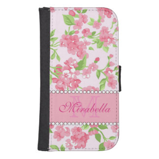 Spring pink watercolor Blossom Branches name Samsung S4 Wallet Case