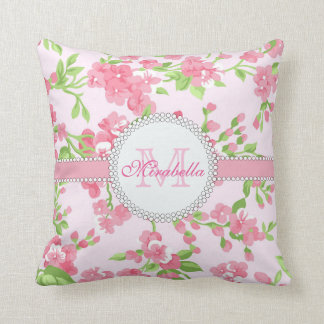 Spring pink watercolor Blossom Branches name Throw Pillow