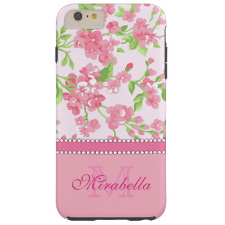 Spring pink watercolor Blossom Branches name Tough iPhone 6 Plus Case