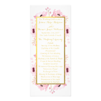 Spring Pinks Watercolor Floral Wedding Collection Custom Rack Cards