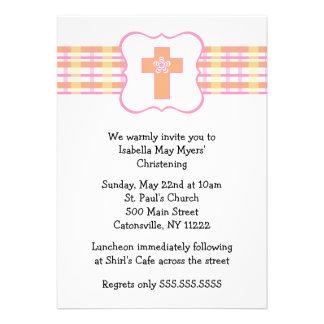 Spring Plaid Baptism Invitation