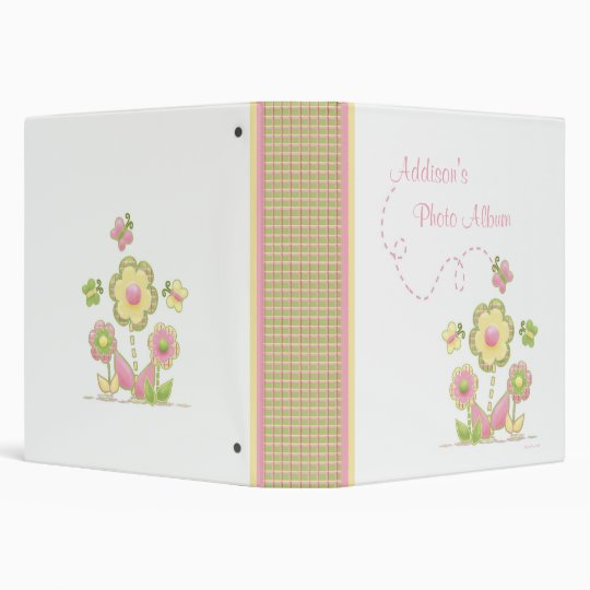 Spring Plaid Flowers and Butterflies Photo Album Binders