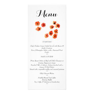 Spring poppy flowers Wedding  Menu Rack Card Template