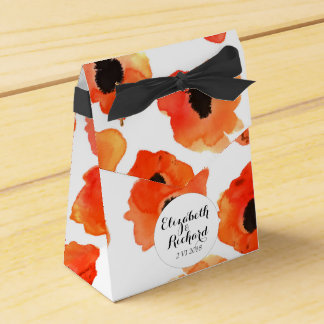 Spring poppy flowers wedding monogram favor box