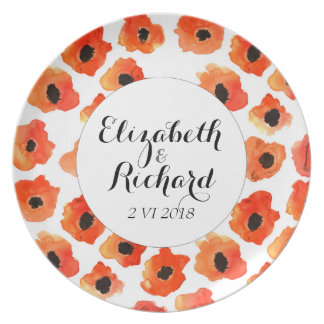 Spring poppy flowers wedding monogram party plates