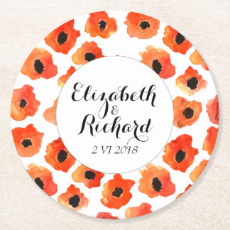 Spring poppy flowers wedding monogram round paper coaster