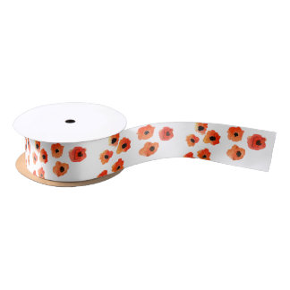 Spring poppy flowers wedding monogram satin ribbon