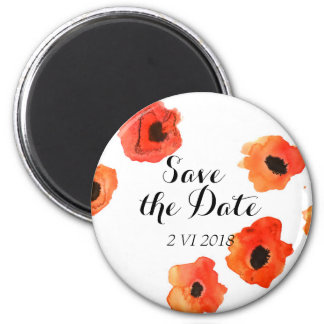 Spring poppy flowers wedding Save the Date 2 Inch Round Magnet