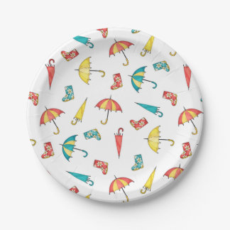 Spring Rain I Paper Plate