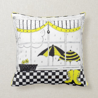 Spring Rain Window Scene Greetings Throw Pillow