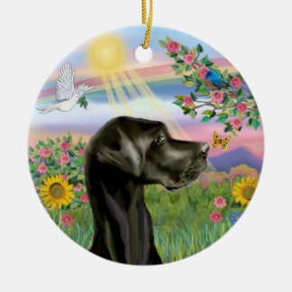 Spring Rainbow- Black Great Dane Natural ears Christmas Tree Ornaments