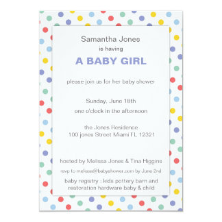 Spring Rainbow Polka Dot Pattern Baby Shower Personalized Announcement