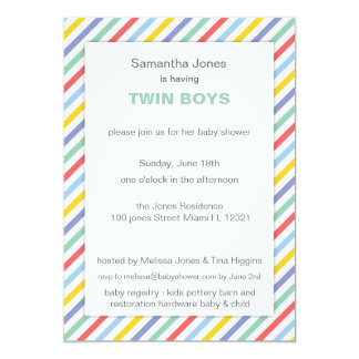 Spring Rainbow Stripes Pattern Baby Shower Personalized Invitations