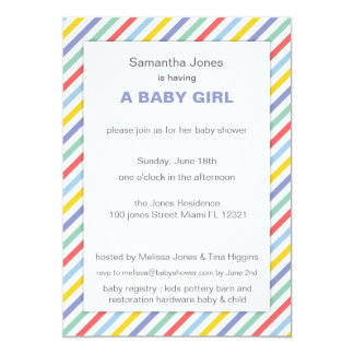 Spring Rainbow Stripes Pattern Baby Shower Announcement