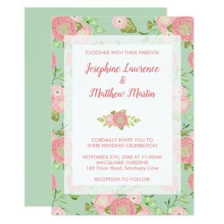 Spring Ranunculus Floral Mint Wedding Invitations