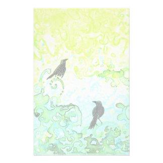 Spring Ravens stationery paper set