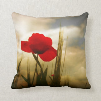 Spring Red Poppy Flower Pillow