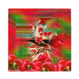 Spring Revival Abstract Easter Art Maple Wood Coaster