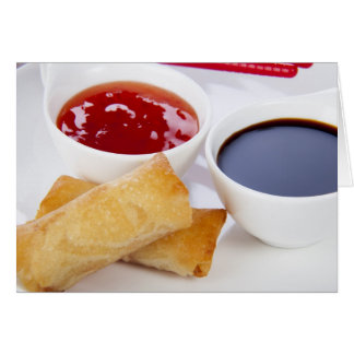 Spring Rolls and Dips Greeting Card