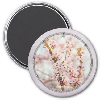 Spring Romance Cherry Blossoms 3 Inch Round Magnet