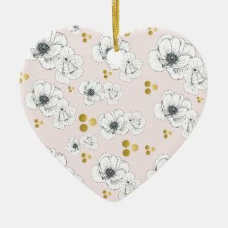 Spring Romance Modern Floral Ceramic Ornament